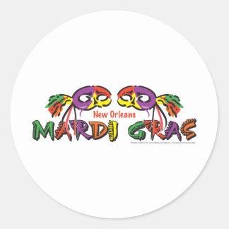 MARDI-GRAS ROUND STICKER