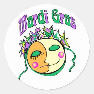 MArdi Gras Round Stickers