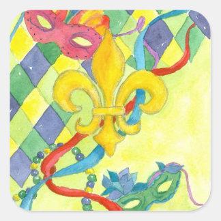 Mardi Gras Stickers Fleur De Lis Mask Art