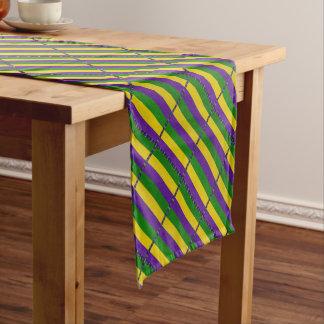 Mardi Gras Striped Pattern Short Table Runner