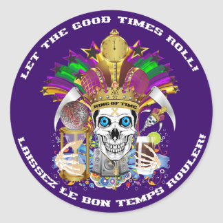 Mardi Gras The King of Time View Notes Please Classic Round Sticker