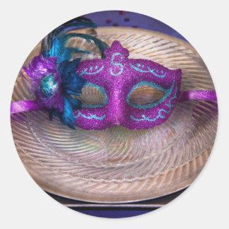 Mardi Gras Theme - Surprise guest Classic Round Sticker