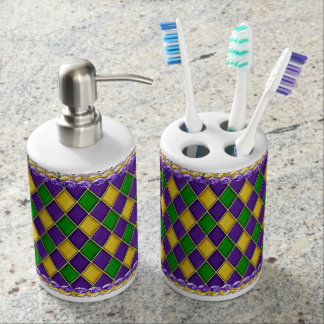 Mardi Gras Themed Soap & Toothbrush Holder Set
