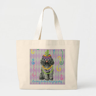 Mardi Gras Toy Poodle Large Tote Bag