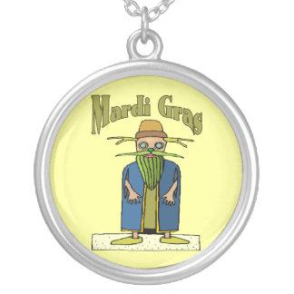 Mardi Gras Tree Man Round Pendant Necklace