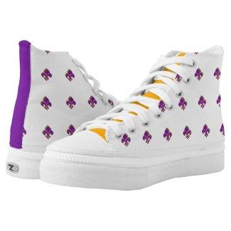 Mardi Gras Tri-colored Fleur de Lis Printed Shoes