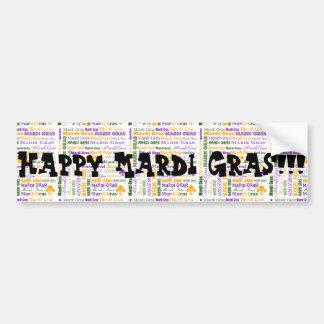 Mardi Gras Tri-Colored Multi-Font Car Bumper Sticker