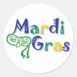 Mardi Gras Tri Mask Classic Round Sticker