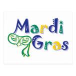 Mardi Gras Tri Mask Postcard