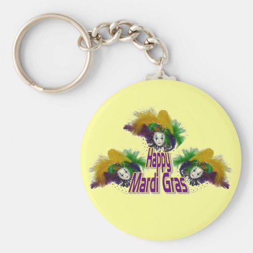 Mardi Gras Trio Basic Round Button Keychain