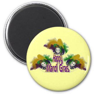 Mardi Gras Trio 2 Inch Round Magnet