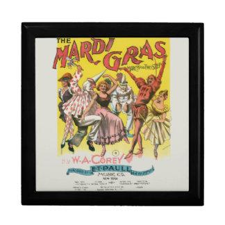Mardi Gras Vintage Yellow Poster Jewelry Box