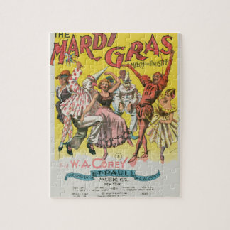 Mardi Gras Vintage Yellow Poster Jigsaw Puzzle
