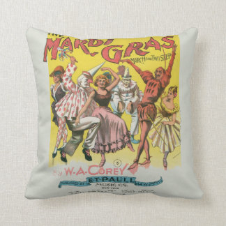 Mardi Gras Vintage Yellow Poster Pillow