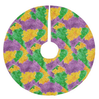 Mardi Gras Watercolor Pointillize Camouflage Brushed Polyester Tree Skirt