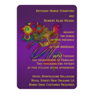 Mardi Gras Wedding 5x7 Paper Invitation Card