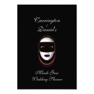 """Mardi Gras Wedding Shower"" - Beaded Mask Pur/Gold Card"