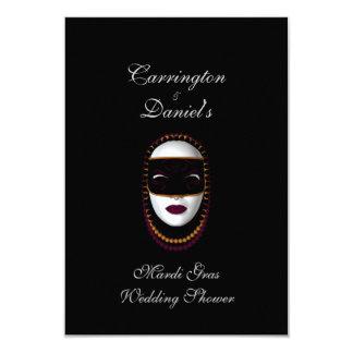 """Mardi Gras Wedding Shower"" - Beaded Mask Pur/Gold 3.5x5 Paper Invitation Card"