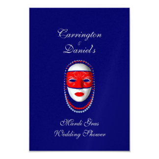 """Mardi Gras Wedding Shower"" Beaded Mask-Red/Blue 2 3.5x5 Paper Invitation Card"