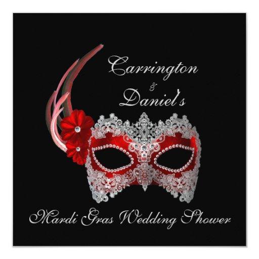 """Mardi Gras Wedding Shower"" - Red Mask w/ Lace 5.25"" Square Invitation Card"