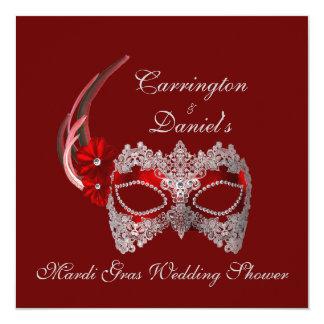 """Mardi Gras Wedding Shower"" - Red Mask w/ Lace 5.25x5.25 Square Paper Invitation Card"