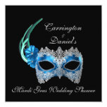 """Mardi Gras Wedding Shower"" - Turquoise Mask w/ La 5.25"" Square Invitation Card"