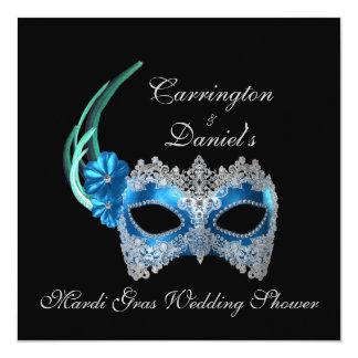 """Mardi Gras Wedding Shower"" - Turquoise Mask w/ La 5.25x5.25 Square Paper Invitation Card"