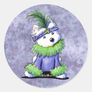 Mardi Gras Westie Classic Round Sticker
