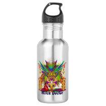 Mardi Gras Witch Doctor Dark Text Stainless Steel Water Bottle