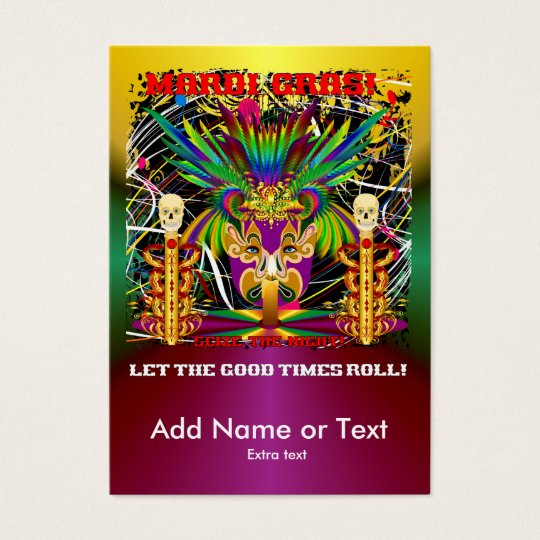 Mardi Gras Witch Doctor-Skull V-3-T Business Card