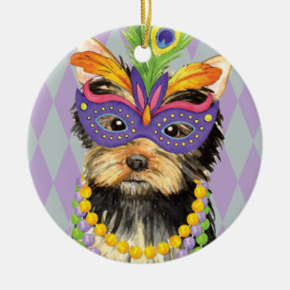 Mardi Gras Yorkie Ceramic Ornament