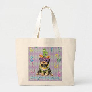 Mardi Gras Yorkie Jumbo Tote Bag