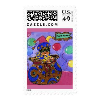 Mardi Gras Yorkie Poo Postage Stamp
