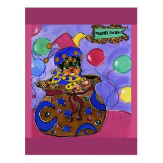 Mardi Gras Yorkie Poo Postcard