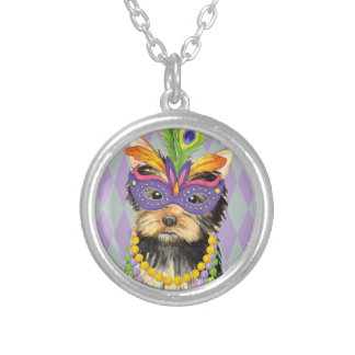 Mardi Gras Yorkie Silver Plated Necklace