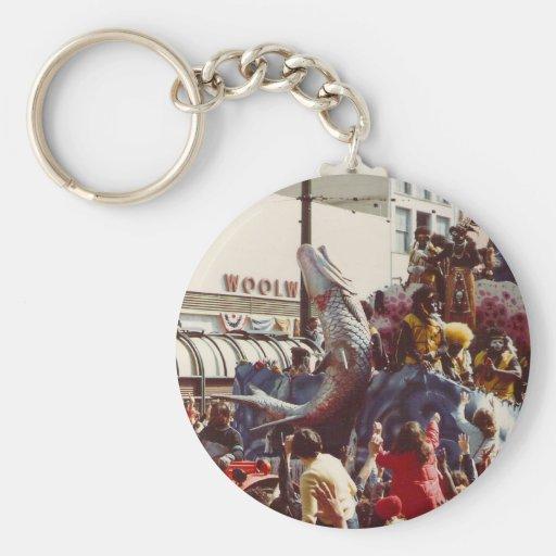 Mardi Gras Zulu Float Basic Round Button Keychain