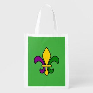 Mardi grass fleur-de-lys grocery bag