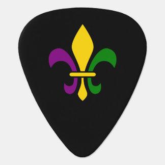 Mardi grass fleur-de-lys guitar pick