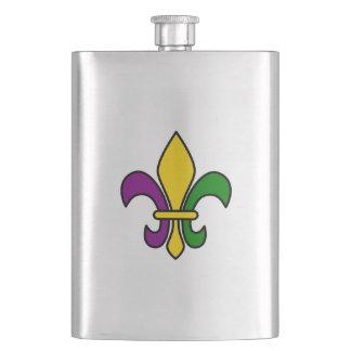 Mardi grass fleur-de-lys hip flasks