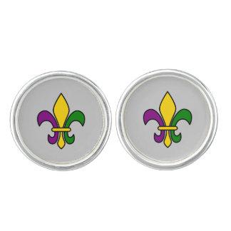 Mardi grass fleur-de-lys cufflinks