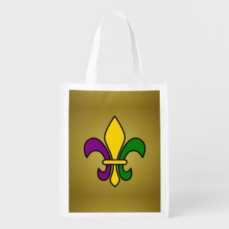 Mardi grass fleur-de-lys reusable grocery bag