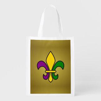 Mardi grass fleur-de-lys reusable grocery bags