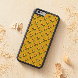 Mardi grass pattern carved maple iPhone 6 bumper case