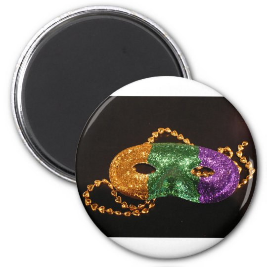 Mardi Party 2 Inch Round Magnet