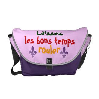 Mardis Gras Let The Good Times Roll Fleur de lys Messenger Bag