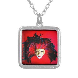 mARDIS  GRAS Masque black feathers red background Square Pendant Necklace