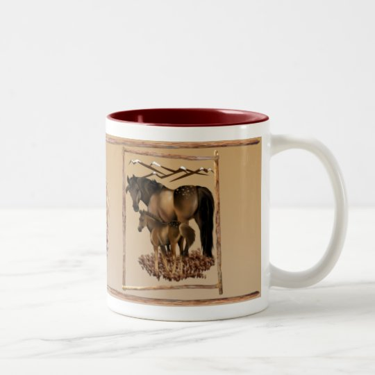 Mare and Baby in Wood Frame plain Mugs