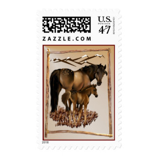 Mare and Baby in Wood Frame plain Postage