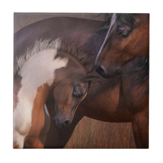 Mare and Foal Art Tile