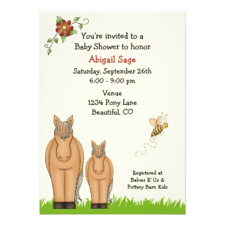 Mare and Foal Baby Shower Invitation for Girls